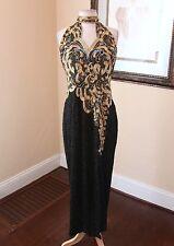 Vtg 80s Black Gold Silk Ornate Beaded Sequin Halter Evening Formal Dress Sz M