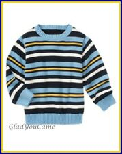 NWT Gymboree Sz M 7-8 Crew Striped Pullover Sweater Navy Blue Yellow White New