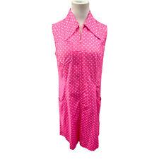 VTG 1960's Marimekko Marketta Pink White Polka Dot Dress Made In Finland Size 12
