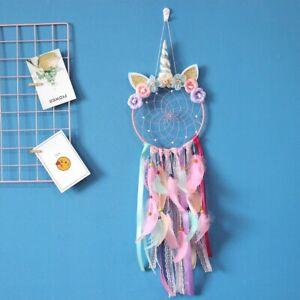Handmade Unicorn Purple/Pink Feather Dream Catcher 20CM Web 75CM Total Length
