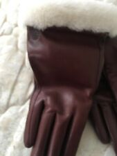 Ugg Classic Leather Smart Gloves Size S CORDOVAN