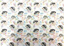 Wi113 Hedgehog Retro Enchanted Forest Mushrooms Truffles Cotton Quilt Fabric