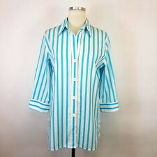 Foxcroft 6 Button Up Wrinkle Free Shirt Top Shaped Fit Blue White Stripe