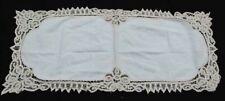 "Beautiful Vintage Ecru Hand Embroidered Linen Table Runner Dresser 15"" x 33"""