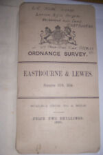 Antique Map of East Sussex  and  Lewes. Ordnance Survey. WW1