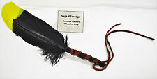 Smudging Feather Smudge Sage Feather Fan Wafting Multi Color Yellow and Black