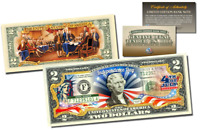 JULY 4th Independence Day Genuine Legal Tender US $2 Bill 2-SIDED w/COA & HOLDER