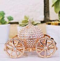 Rose Gold Rhinestone Princess Cinderella Crystal Pumpkin Carriage Trinket Box