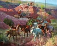 Horse Tile Backsplash Jack Sorenson Western Art Ceramic Mural RW-JS009
