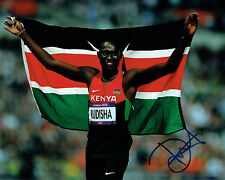 David Lekuta RUDISHA Autograph Signed 10x8 Photo AFTAL COA Kenya Athlete Runner