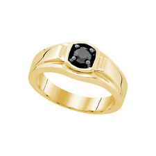 Sterling Silver Yellow-tone Men's Solitaire Black Diamond Fashion Ring 1/2 Cttw