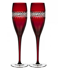 Waterford John Rocha Red Cut Champagne Flutes Pair Crystal New In Box