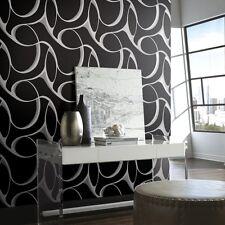 Negro y Plata Papel Pintado pegar la pared geométrico grandes Remolino Diseño Y6200105