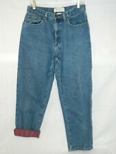 """LL Bean Double L Plaid Flannel Lined Jeans Womens 10 Reg Relaxed Fit 30"""" x 28"""""""