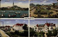 Chemnitz Mehrbild-AK & Stempel auf Feldpostkarte 1917 Feldpost 1. Weltkrieg gel.