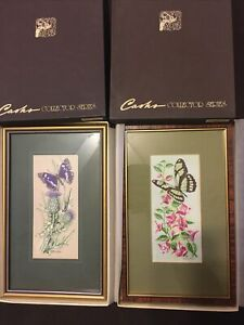 """Framed Woven Silk J J Cash Pictures """"Purple Emperor"""" & Helicon 6.5""""x 3""""Woven Pic"""