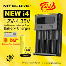 Nitecore new I4 Battery Charger + 4X LG ICR 18650 Battery 20A HE4 2500mAH  DRAIN