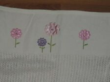 ROMY & ROSIE WHITE CELLULAR WEAVE COTTON BABY BLANKET PINK & PURPLE FLOWERS