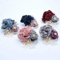 BRIDESMAID WRIST CORSAGE BRACELET HAND ROSE PEARL FLOWERS WEDDING PARTY BRIDAL