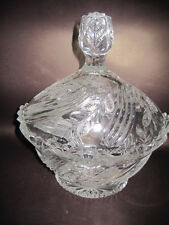 Very Desirable Oval Shape Crystal Bowl with Lid new still with BOHEMIA Sticker