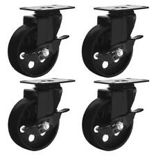 4 All Black Metal Swivel Plate Caster Wheels With Brake Heavy Duty 4 With Brake