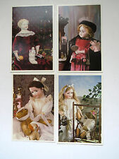 FOUR Vintage Dolls Teddy Bears Postcards by House of White Birches UNUSED