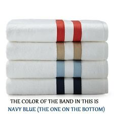 NWT MATOUK MARLOWE NAVY BLUE BAND WHITE WASH CLOTH / FACE CLOTH MADE IN PORTUGAL