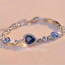 Stylish Ocean Blue Sliver Plated Crystal Rhinestone Heart Charm Bracelet Bangle