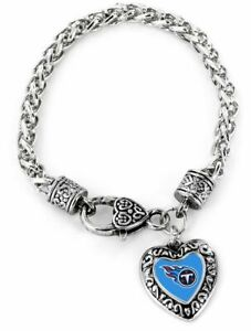 Tennessee Titans Football Heart Charm Dangle Women's Fashion Clasp Bracelet