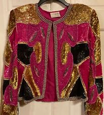 Maple Brand Silk Elaborately Beaded Evening Jacket`M~Festive Pinks/Colors~VVG