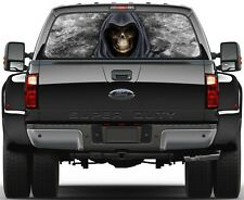 Grim Reaper Black Fire Flame 3  Rear Window Graphic Decal Sticker  Truck SUV