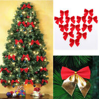 Christmas Tree Bows Ornaments Xmas Bow Knot Festival Party Garden Decor-WI