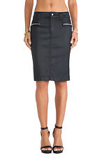 NWT 7 For All Mankind High Waist Pencil in Black Coat Jeather Zip Side Skirt 27