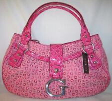 GUESS Logo Signs Primary Watermelon Pink Satchel Bag Purse Handbag Signature New