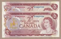 2 x Sequential 1974 $2 Bank of Canada Lawson Bouey Prefix RP CH-UNC