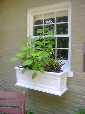 "34"" White Madison Flower Box Planter W/ Water Minder Feature & Mounting Brackets"