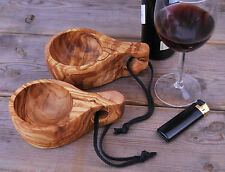 Olive wood KUKSA Cup with leather strap, Drinking vessel Cup made of Olive Wood