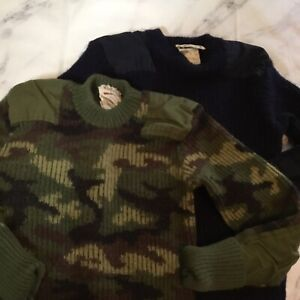 vintage men's small/boys L/XL long sleeve hunting 100% wool sweaters ~lot of 2~