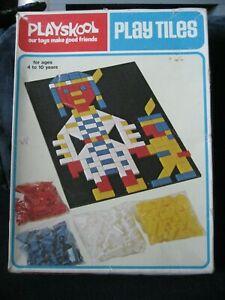 VTG 1976~PLAYSKOOL PLAY TILES Colors Shapes Activity Peg Board, Original Box