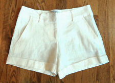 NWT SW3 Bespoke 100% Ivory Linen Shorts Size 0 Dressy Cuffed