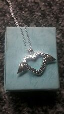 925 silver cordate heart pendant with wings necklace
