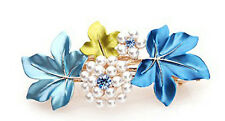 Luxury Ocean Blue Flowers White Rhinestones Hair Barrette Accessories HA115