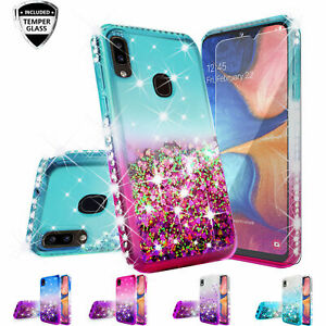 Samsung Galaxy A20 A30 Case Glitter Rhinestone Liquid Bling Tempered Glass Cover
