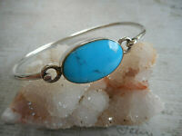 Vintage Mexico Taxco Sterling Turquoise Front Open Bangle Bracelet   RE33AR