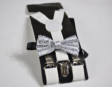 Baby Boy Kids White Braces Suspenders + Sheet Music Notes Bowtie Bow Tie