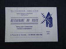 Carte de visite RESTAURANT DU VIEUX La Roche-sur-Yon Vendée moulin visit card