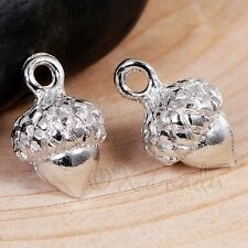 Acorn Charms - 15mm Silver Plated Autumn Pendants C5467 - 5, 10 or 20PCs