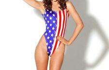 Free Size One-piece Summer Beach Bikini USA American Flag Backless Vest Swimsuit