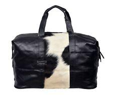 Leather Holdall Travel Weekend Duffle Bag Sports Gym Handbag Black Cow Fur Patch