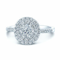 14K White Gold Diamond Oval Engagement Ring Round Natural Cluster Double Halo